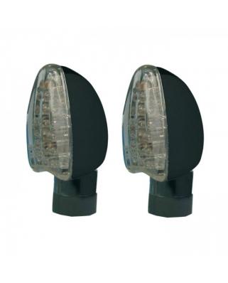 LED moto blinkry Arrow, černé, dlouhé, čiré sklo, homologované