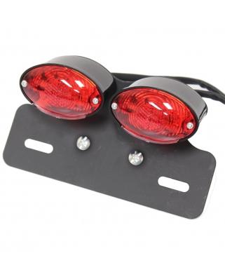 LED zadní moto světlo DOUBLE černé, E-známka