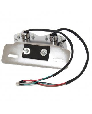 LED zadní moto světlo DOUBLE chrom, E-známka