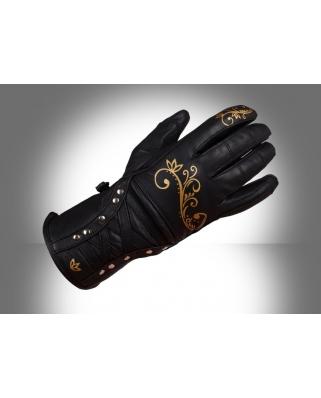 Ultimate Lady zlaté - kožené rukavice na motorku