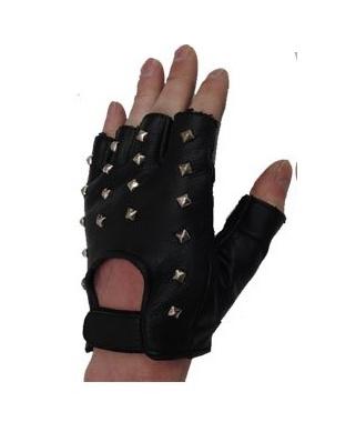 Kožené bezprsté rukavice s nýty
