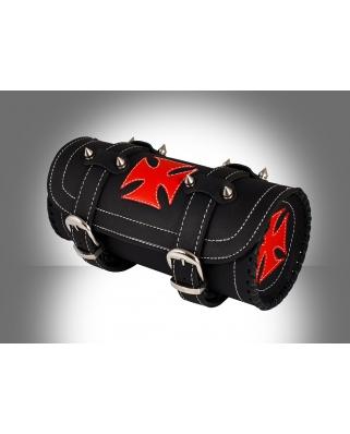 Kožená moto rolka Cross red s ostny