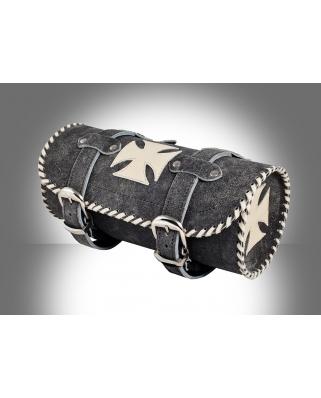 Kožená moto rolka Cross white retro 4mm kůže