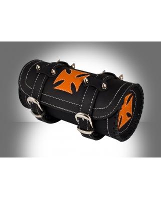 Kožená moto rolka Cross orange s ostny