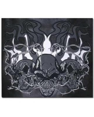 Kožená moto vesta Skull 3D reflexní
