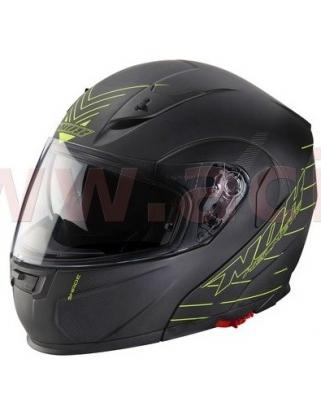 Nox N964 Shade vyklápěcí helma (černá matná/žlutá fluo) se sluneční clonou
