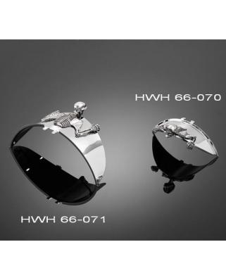 HIGHWAY HAWK Universální samolepící soška Skull (kostra) na blatník, šířka 85mm
