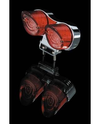 LED zadní moto světlo SHARK NOSE červené, homologované